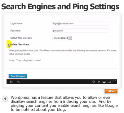 Launch Your Site to Search Engines and Ping Settings