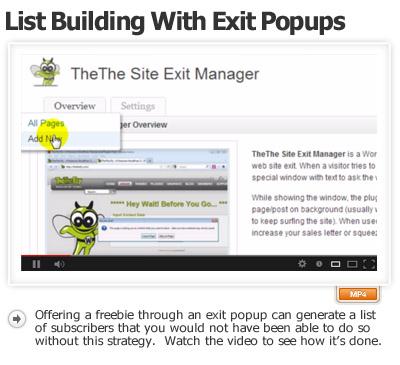 Exit Popups Build List